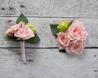 Wedding Boutonniere and Corsage Set - Blush Pink Rose and Hops Boutonniere and Corsage