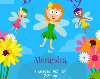 Flying Fairy Magic Birthday Party Invitation - printable birthday invite for a Kid's Fantasy Themed Birthday