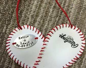 Baseball heart ornament with handstamped metal disc