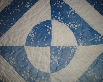 Old Blue Calico Fabric Quilt Piece | Vintage Quilt Piece | Antique Quilt Piece | Primitive Cutter Quilt Piece | Old Quilt Piece To Repurpose