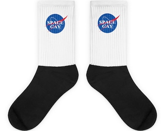 Space Gay Socks - NASA Logo Meme Outer Space LGBT Sublimated Print Socks