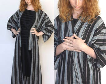 wanderer -- amazing floor-length Japanese kimono duster jacket size S/M/L