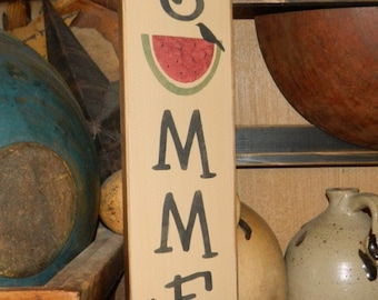 Welcome Summer Watermelon Primitive block Sign