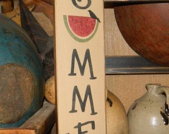 Welcome Summer Watermelon Primitive block Sign