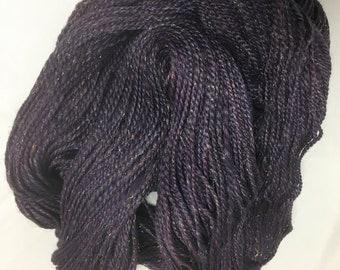 "Sparkly Merino/Firestar/Bamboo Handspun Yarn - Sport weight - 335 yards, 3.5 ounces -  ""Gothika"" (purple)"