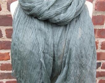 Moss green scarf sheer Crinkled shawl long Cotton Soft Boho chic Wrap minimal mod Urban peasant Lightweight muffler bohemian Accessory Gift