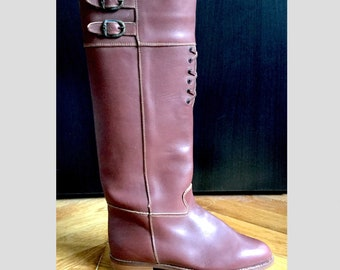 Flat boots brown leather 70 years with kitten heel shoes with laces/Made in Italy/Shalako/new/size 36 US 5 UK 3