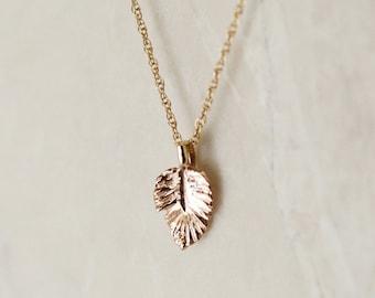 Leaf Pendant or Charm, 14k Solid Gold Leaf Pendant or Charm