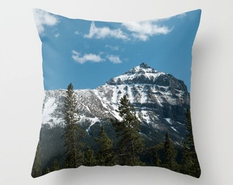 Pillow Cover For A Cabin Sofa, Mountain Photography Decoration, Earthy Sofa Throw Cushion Case, Canadian Rocky Mountain, Snow Capped Peaks