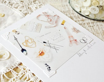 Elegant Notecard. Signed Artist Print. Blank 5x7 Greeting Card. Vintage Sewing Notions Art. Flat Lay Photo. Paris Stationery. Eiffel Tower.