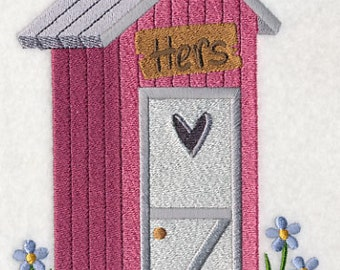 Country Outhouse HERS Embroidered Flour Sack Hand/Dish Towel