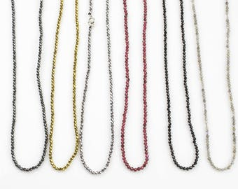 Larry- Long Necklace- Perfect for Layering-Sterling Silver- 32 inches