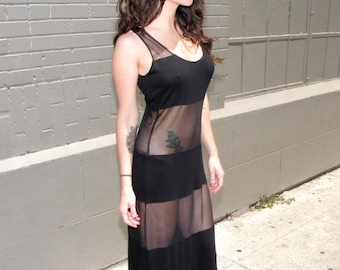 Long Dresses for Women - black sheer dress - sheer maxi dress - long gown lingerie- sheer dress - sheer lingerie - handmade clothing - dress