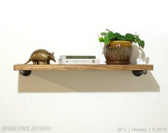 Floating Shelf - Wood Rustic Pipe Kitchen Shelves Book Open Bathroom Living Handmade Home Decor Solid Wood Metal Brackets Industrial Modern