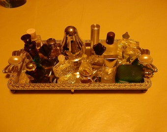 Vintage glass tray with Pearl like decor. and minin bottles of prefumes