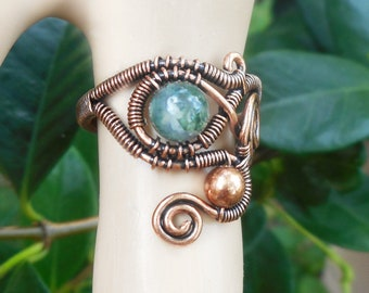 Moss Agate ring, wire wrapped ring size 8.5, wire wrapped jewelry, boho gifts, one of a kind, bohemian