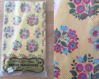 Vintage Deadstock Pakay Party Papers by Gibson Paper Bridge Floral Tablecloth. Yellow, blue, red, nos.