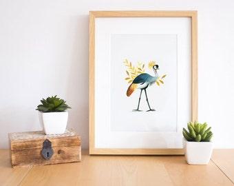 Bird art print, bird wall art, bird wall decor, bird print, bird art, bird lover gift, african crane, exotic bird, bird watercolor