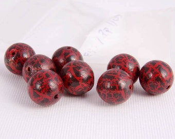 Vintage Beads Red Black Splatter Paint Round Acrylic Set of 6 for Jewelry Making