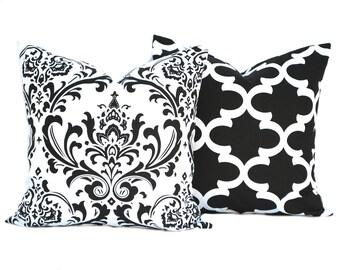 Two Black pillow covers, cushion, decorative throw pillow, decorative pillow, accent pillow, Black Throw Pillow, Polka dot Pillow