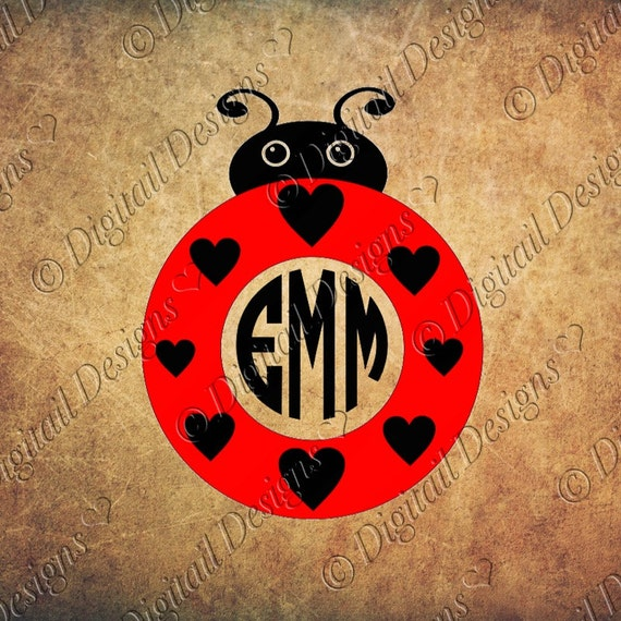 love bug ladybug monogram svg png dxf eps fcm ai cut file for