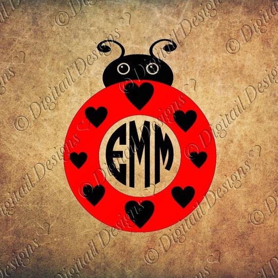love bug ladybug monogram svg png dxf eps fcm ai cut file for