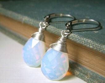 Opalite Earrings Sterling Silver Leverback, Briolette Earrings, Blue Opal Glass Teardrop Dangle, Sea Glass Earrings, High Quality Opalite