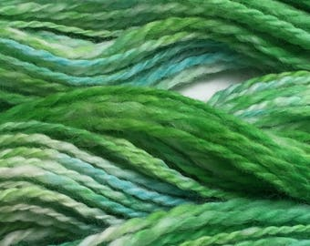 "Hand-Spun 100% Wool Yarn ""Sea Green"" Hand-Washed, Carded, Spun and Painted, 2 ply, Knit, Crochet, Weave, Aran & Worsted 140 yds, Wound FREE!"