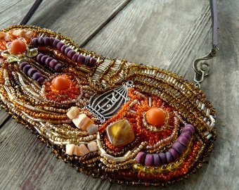 Boho style, Boho necklace, Beaded jewelry, Bohemian jewelry, Statement necklace, Artisan Jewelry, Handmade jewelry, Beaded necklace,