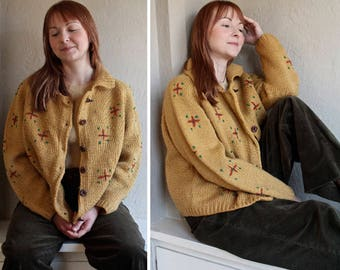 60s Vintage Sweater Cardigan HAND KNIT Mod Atomic FLORAL Pattern Retro Mid Century Womans Oversized Sweater Knit Cardi Jacket Medium Large
