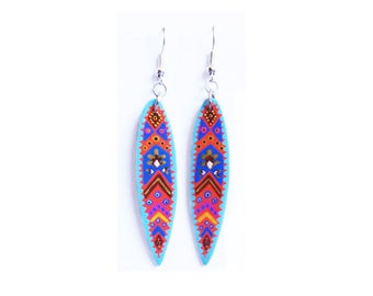 Earrings bamboo leaf painted blue and orange handmade tribal