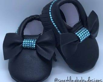Black Baby Moccasin Shoes With Swarovski Crystals