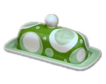 Butter Dish.Solid Green, Light Green, White Designed Knobbed Butter Dish.Green.Light Green.Circle.Handmade by Sara Hunter