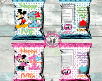 custom mickey mouse or minnie mouse inspired chip bags-1st birthday theme-more matching favors aval.-treat bags-digital or printed