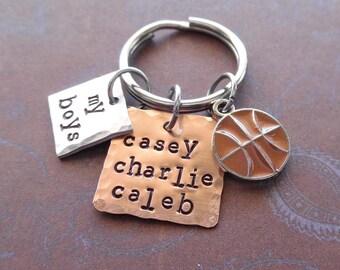 My Basketball Boys Keychain - Personalized Names Basketball- Man Dad Father Mommy gift - My Boys Sport Personalized Keychain-  K87