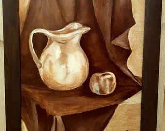 Monochrome Etude Classic Still Life with Folded Drapery Ewer and Apple Original Oil Painting on Canvas Wall Art Home Decor