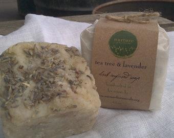 Tea Tree & Lavender Vegan Soap,  Handmade with Essential Oils, Organic Herbs