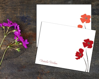 Poppy Blossom Personalized Flat Notecard