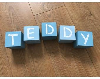 Wooden letter blocks, baby name blocks, nursery decor, personalised blocks, painted name blocks, alphabet blocks, name blocks