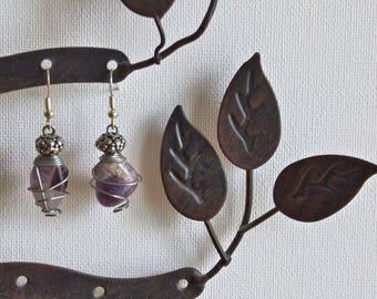 Silver & amethyst drop earrings