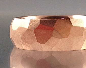 14k Rose Gold Chiseled Ring - Faceted Band, 7mm - 4mm wide