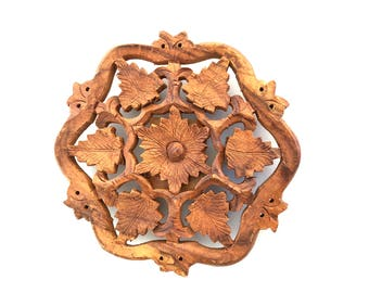 """Himalayan Sheesham Wood 6"""" Trivet - Hand Carved In India"""