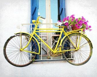 "Bicycle Art Print - Pink Flowers - Bike Photograph - Large Wall Art - Bike Print - Yellow Aqua Pink - Greece Photography ""Yellow Bike"""
