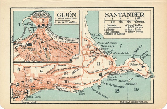 Gijon Spain Map.1930 Santander Gijon Spain Antique Map