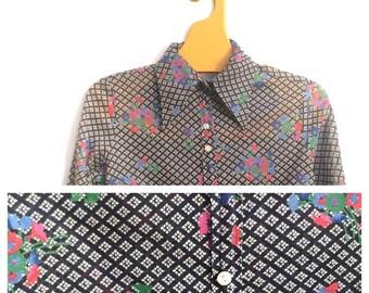 Jeff Banks 1970 Floral Geometric XS XXS Blouse Shirt