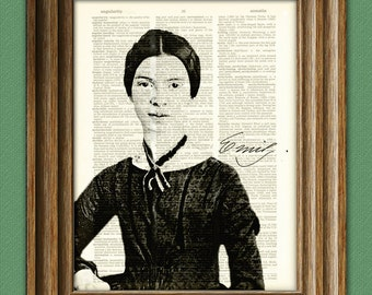 Emily Dickinson Print Poet writer illustration upcycled dictionary page book art print