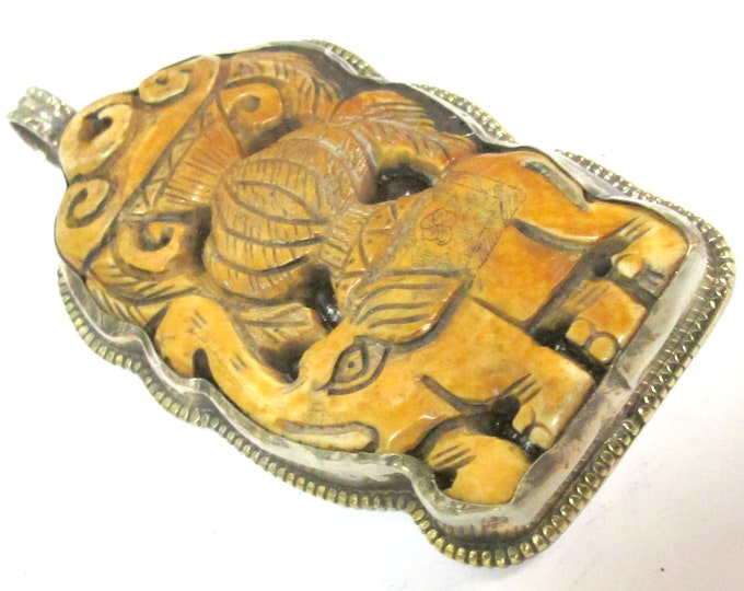 1 Pendant - Large Big size  Ethnic Tibetan carved cattle Bone Royal elephant design  pendant with flower carving  on reverse side - PB001G