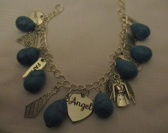 Supernatural inspired Castiel Charm Bracelet with faux turquoise