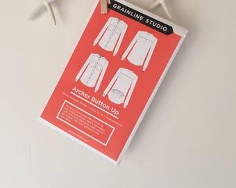 Archer Button Up Pattern, Women's Button Up Shirt Pattern, Ladies Top Pattern, Grainline Studio, Women's Long Sleeve Shirt, DIY Womens shirt
