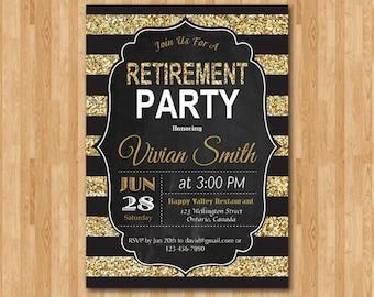 Retirement Invitation. Retirement Party Invitation. Gold Glitter Chalkboard. Stripes. Printable Digital.